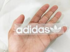 White adidas flora sport logo 11 cm. sticker iron on velvet & glue patch DIY