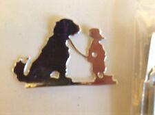 "Cardmaking Die Cuts Silver Mirror Card ""Boy and his Dog"" Qty 12 -6.3x4.2cms"