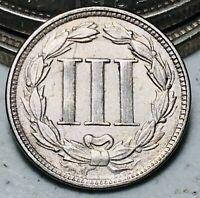 1865 Three Cent Nickel Piece 3C Ungraded Good Date Civil War Era US Coin CC6508