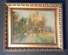 Schöner Impressionist im Malstil Barbizon. Altes Landschaftsgemälde ÖL auf Holz