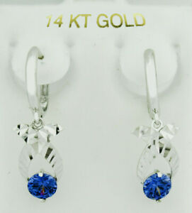 TANZANITE 1.28 Cts DANGLING EARRINGS 14K WHITE GOLD *New With Tag*
