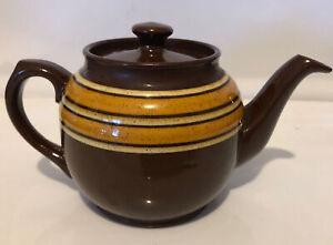 Vintage Sadler Brown Betty Teapot 2 Cup 1940's Speckled Orange & Yellow Stripes
