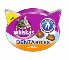 4 x 50g WHISKAS DENTABITS with Chicken Cat Treats for Healthy Teeth NEW