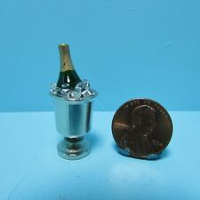 Dollhouse Miniature Champagne in Silver Ice Bucket ~ HR60015