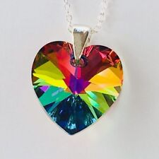 Swarovski Elements Necklace Pendent Crystal Heart Vitrail M 925 Sterling Silver