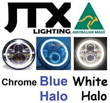 """7"""" Headlights CHROME BLUE and WHITE LED Halo Datsun 140z 240z 260z 1600"""