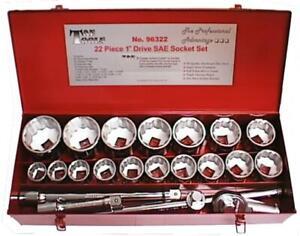 22 Piece 1 Inch Drive SAE Socket Set
