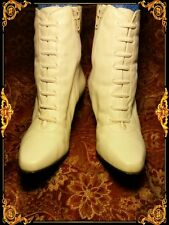 AMANDA SMITH Garbo Wedding Granny Victorian Ivory Ankle Boot Women Leather 6.5