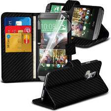 Carbon Fibre Wallet Flip Case Cover For Htc One M8/M8s