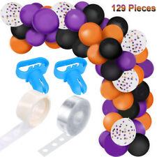 US!129PCS Halloween Black Orange Purple Latex Balloons Arch Horror Party Decor