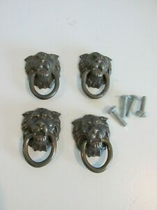 Lot of 4 vintage Lion Head Drop Ring Drawer Pulls Brass With Straight Head Screw