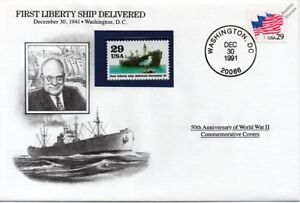 WWII 1941 First Liberty (Cargo) Ship Delivered Stamp Cover (USA/Danbury Mint)