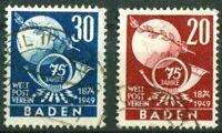 Alliierte Besetzung Französische Zone Baden 56 - 57 gestempelt UPU 1949 used
