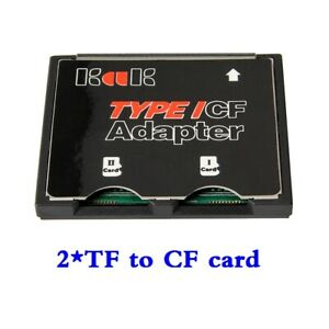 2 Port Micro SD TF to CF Card ADAPTER MMC SDHC SDXC 2 COMPACT FLASH TYPE I UDMA