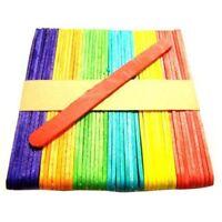 250x Coloured Lolly Sticks Jumbo Large Wooden Lollipop Craft Wax Beauty H2R6