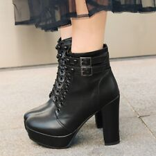 Women's Block High Heels Platform Martin Ankle Boots Lace Up Round Toe Shoes Sz