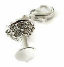 LOVELY SILVER WINE GOBLET WITH CLEAR RHINESTONE CLIP ON CHARM- 3D - SILVER PLATE