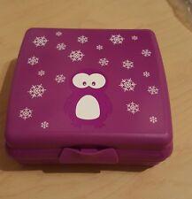 Tupperware Sandwichbox Brotzeitbox Pinguin lila Kindergarten Schule usw
