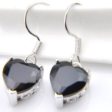 Mystical Handmade Love Heart Black Onyx Platinum Plated Dangle Hook Earrings