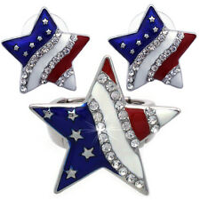 4th of July USA American Flag Patriotic Design Star Ring Stud Post Earrings Set