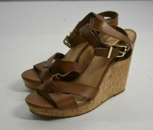 Express Womens Tan Wedge Heel Open Toe Strappy Adjustable Ankle Straps 10