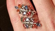 3.35 Carat Natural Sapphire Ring Sz 7.5 /Orange Yellow & Blue Sapphire Leaf Ring