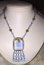 Rare Czechoslovakia Blue Glass Gilt Copper drippy Art Deco ~ Necklace