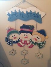 """SNOWMAN Wall hanging """"LET IT SNOW"""" Wooden Sign Christmas Holiday Decoration"""