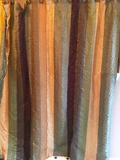 Springmaid Bazaar Stripe Sage Gold Green Striped Fabric Shower Curtain Vintage