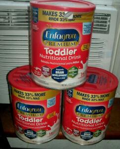 3 x 32 oz CANS Enfagrow Premium Toddler Nutritional Drink Natural Milk Flavor