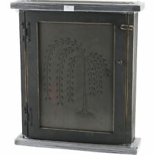 Burnished Willow Tree Black Wood Spice Cabinet Farmhouse Primitive