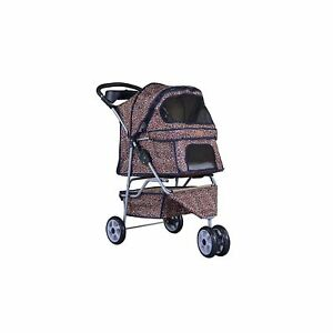 Double Pet Stroller Small Dog Cat Leopard Print Folding Jogger Dual Carrier Gear
