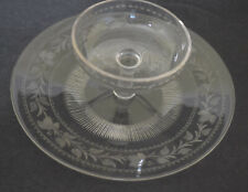 SIGNED SINCLAIRE GLASS ENGRAVED CHIP AND DIP PLATE