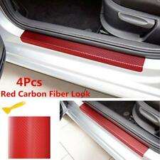 4x Car Door Sill Scuff Welcome Pedal Red Carbon Fiber Front&Rear Protect Sticker