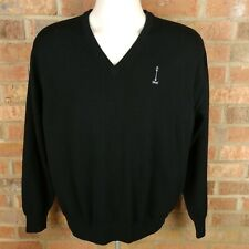 Peter Millar Merino Wool V-Neck Sweater Men's Size Large Black
