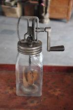 Vintage Blow Butter Churn Glass & Iron Skimmer / Churner Machine , England