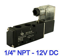 Directional Control Electric Solenoid Air Valve 4 Way 2 Position 1/4 Inch 12V DC