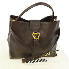 Authentic MOSCHINO Logos 2way Hand Tote Bag Leather Brown Vintage GHW V14256