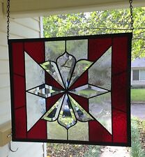 "Large Stained Glass Window Suncatcher with Bevels 14-1/2"" Tall x 16-1/2"" Wide"
