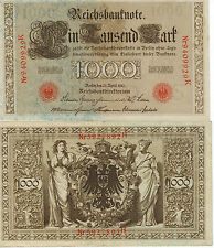 GERMANY 1000 MARK REICH BANKNOTE 1910 IMPERIAL EMPIRE WWI CURRENCY WWII WW2