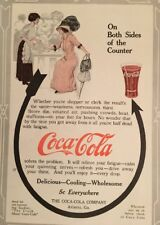 Original 1911 Antique COKE Coca Cola Large Print Ad Store Counter Shopper