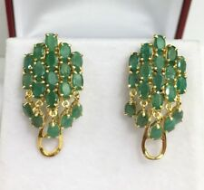 14k Solid Yellow Gold Big Cluster Omega Back Earrings, Natural Emerald 7.4Grams