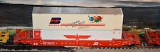 HO scale Athearn Burlington Northern 48' well car with containers load
