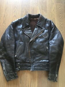 Vtg 1940s Horsehide Leather Motorcycle Biker CHP Jacket Star Glove/Cal Leather?