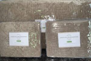Pottery Barn~Washed Velvet Silk Diamond F/Q Quilt~2 Shams~Sandstone