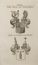 1847 Wappen Adelige Kretz von Rätzenhofen von Kropf Kupfer v.Tyroff Coat of Arms