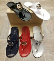 Michael Kors Sandals NEW in the box MK Logo Charm Thong LIllie Jelly PVC Shoes