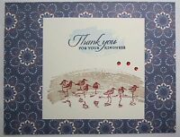 Stampin up! Handmade card Cream Gold Navy Blue Thank you Birds w/envelope