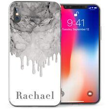 Apple iPhone X Case, New Marble Melt Best Personalised TPU Gel Case White/Grey