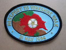 Passport To Yorkshire Walk 21st May 1994 Walking Hiking Woven Cloth Patch Badge